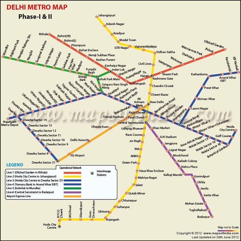 Индия. Дели. Схема метро
