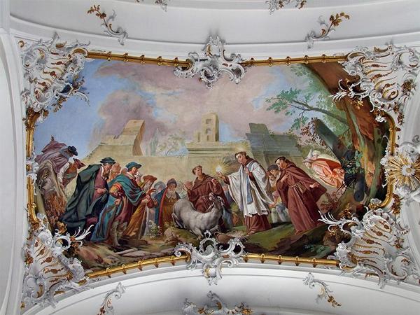 Осёл преклонил колени перед Святыми Дарами