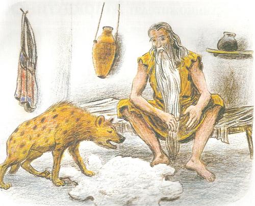 подбежав к Макарию, гиена бросила щенка к его ногам и щенок прозрел