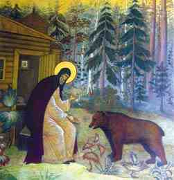 дружба святого с медведем
