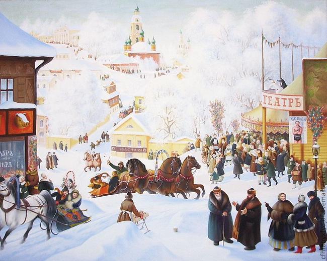 Февраль, Борис Кустодиев, Масленица