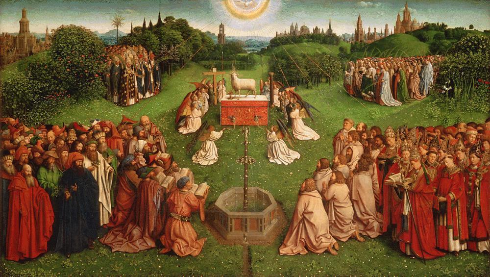 Гентский алтарь, поклонение Агнцу