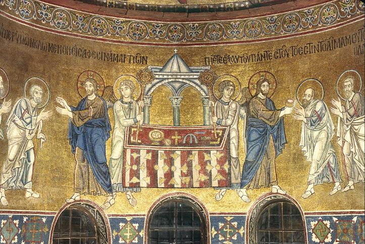 Причащение апостолов, мозаика конхи Св. Софии Киевской, XI век