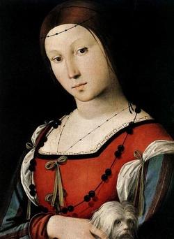 Лоренцо Коста, Портрет девушки с собачкой