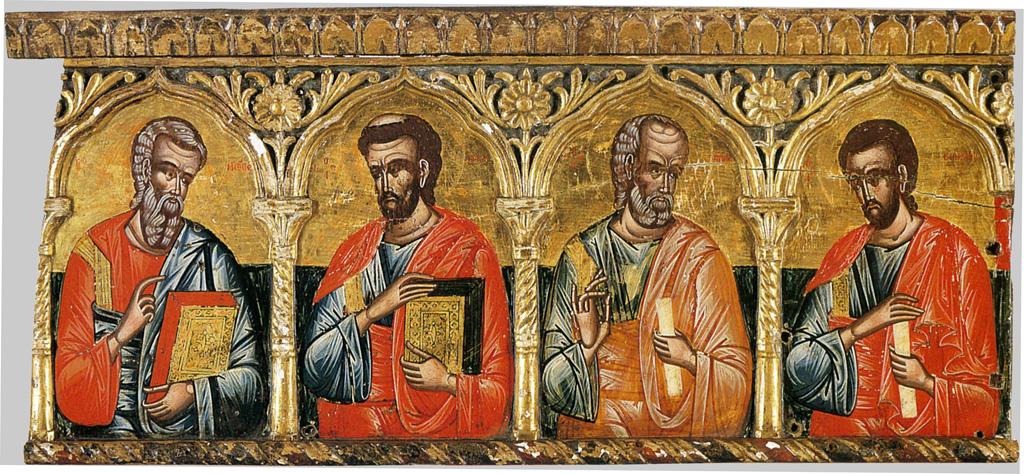 Витые столбики разделяют иконы святых Апостолов. Фрагмент иконостаса