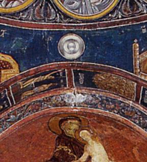 Вращающийся диск на фреске в церкви Панагия тис Асину. Кипр, 11 век