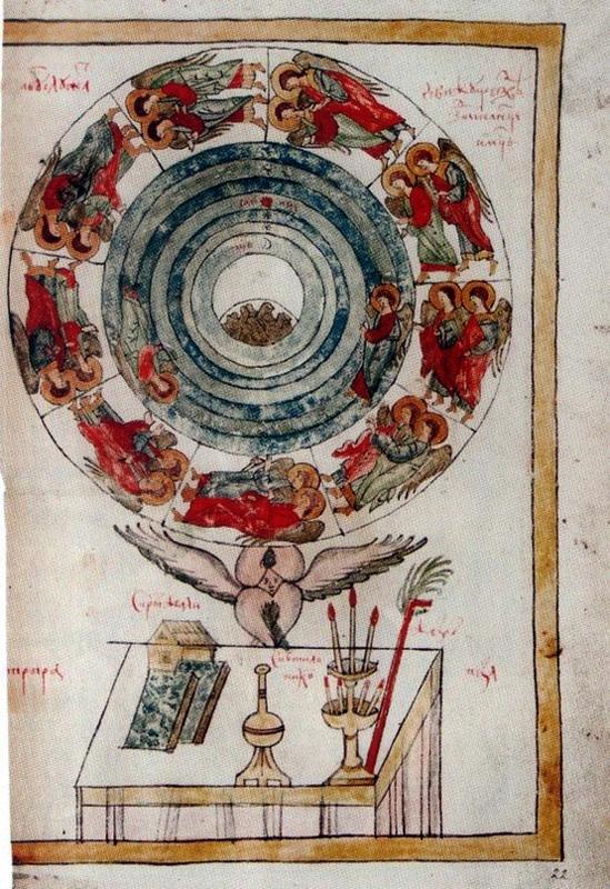 Небесная иерархия в нескончаемом движении на странице древней рукописи из музея Андрея Рублева