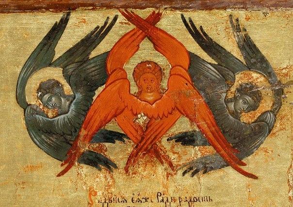 Серафим-«поджигатель» и два «изливающие премудрость» херувима. Русская икона