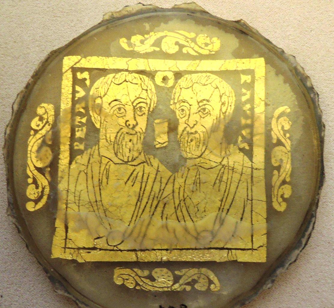 Позолоченные стекла, апостолы Пётр и Павел