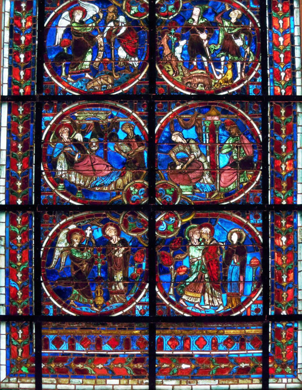 витраж: Благовещение, встреча Марии и Елизаветы, Рождество и видение пастухам