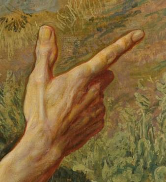 десница Иоанна Крестителя, указывающая на Спасителя на картине Иванова