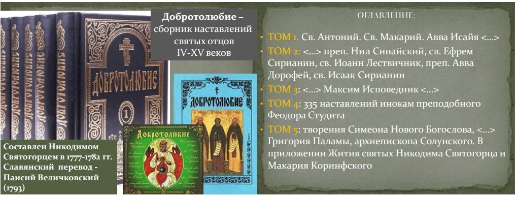 Добротолюбие, сборник наставлений святых отцов